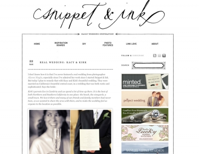 snippet + ink feature, kacy + kirk's cambria wedding