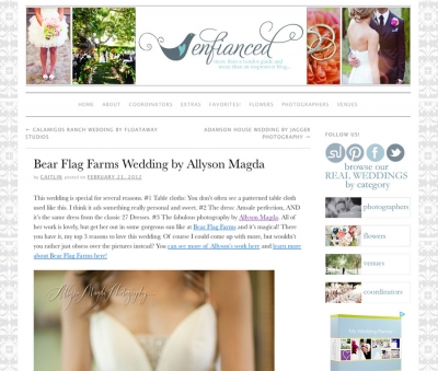featured!  enfianced .. bear flag farm wedding