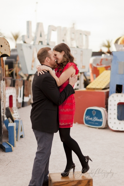 Francesca and Jeremy, Neon Museum Engagement Photographs