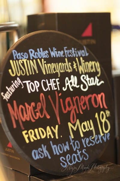 Justin Winery Winemaker Dinner, Paso Robles Wine Festival…  Featuring Top Chef All Star, Marcel Vigneron