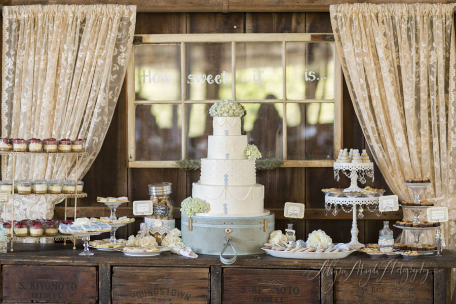 Dana Powers House wedding, desert and cake table