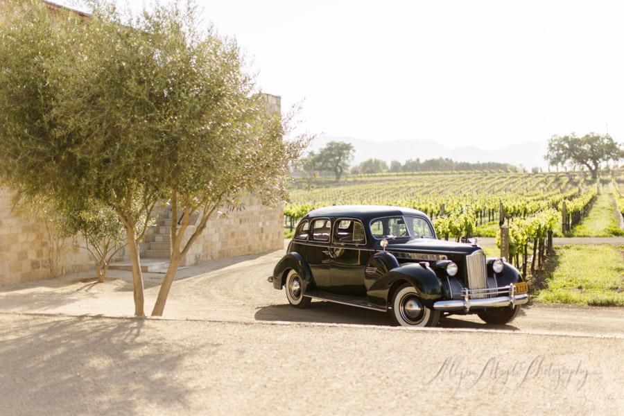 Sunstone Winery wedding, Santa Ynez, vintage classic car