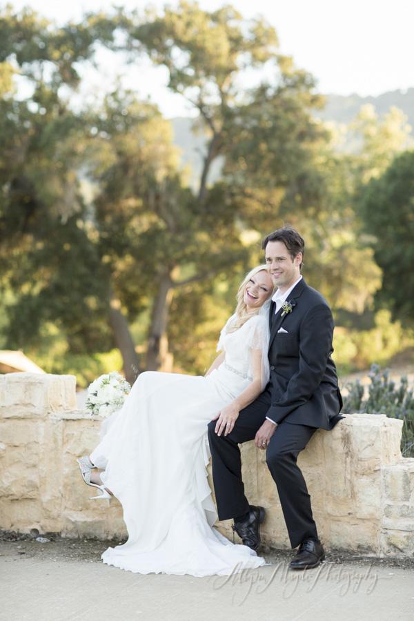 Sunstone Winery wedding, Santa Ynez, bride and groom laughing