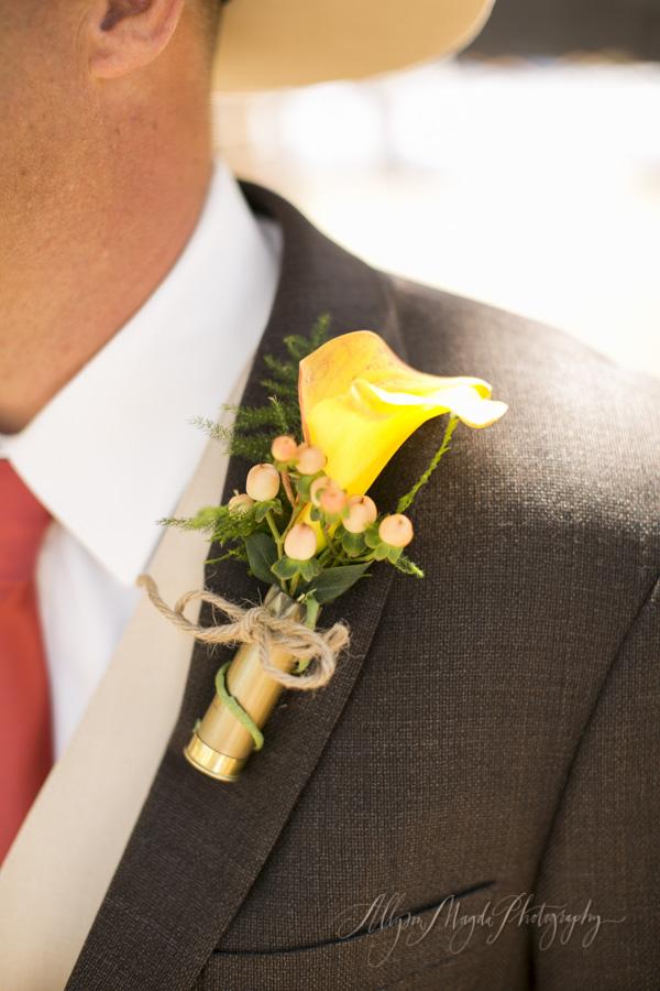 La Cuesta Ranch, San Luis Obispo Wedding, shotgun shell boutineer