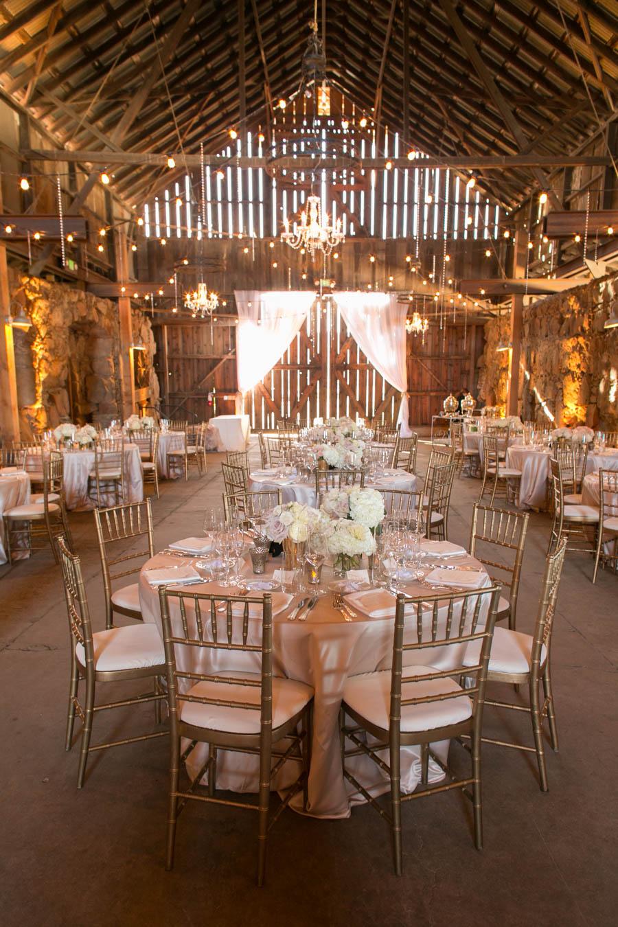 wedding reception in wedding reception at historic santa margarita ranch barn