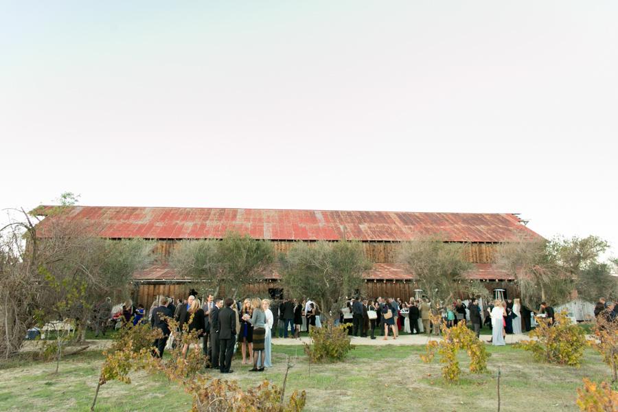 cocktail hour on the side of wedding reception at historic santa margarita ranch barn