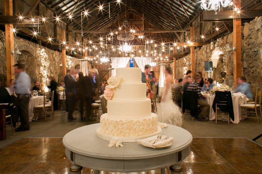 wedding cake at wedding reception at historic santa margarita ranch barn