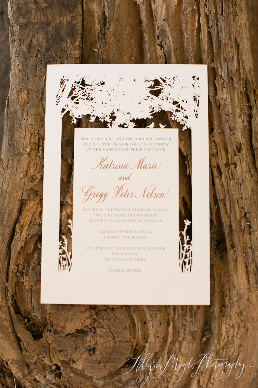 laser cut wedding invitations with tree