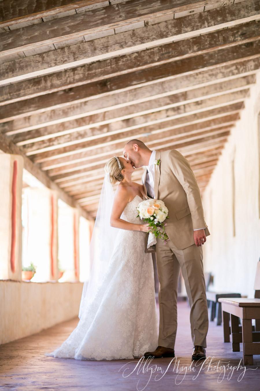 carmel mission wedding couple