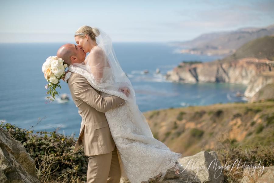 big sue bride and groom with sweeping pacific ocean views