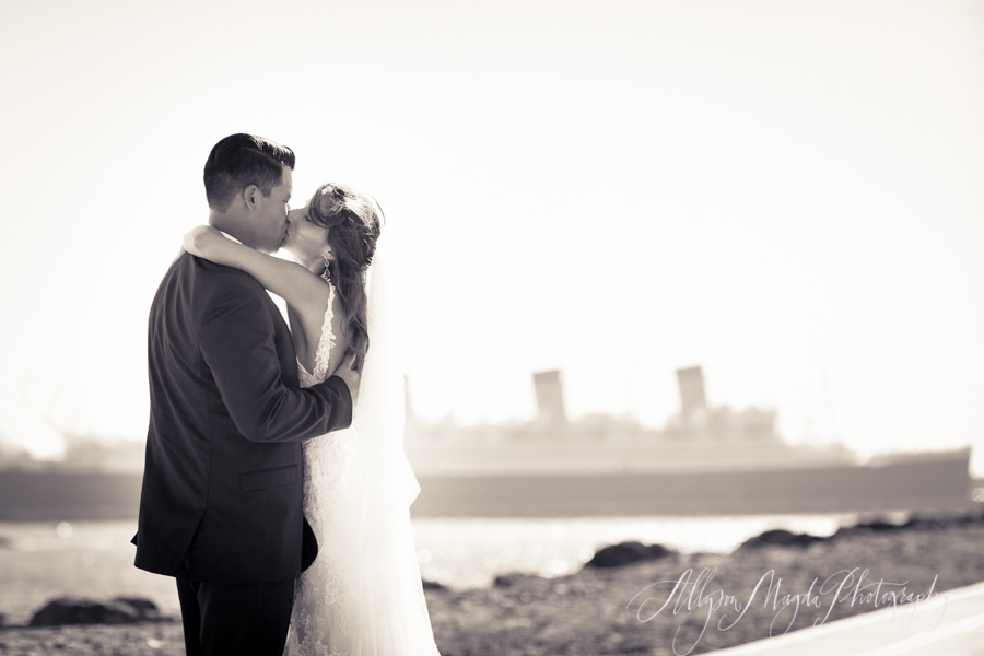 queen mary with bride and groom, long beach