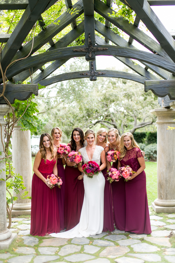 bridesmaids at montecito estate wedding