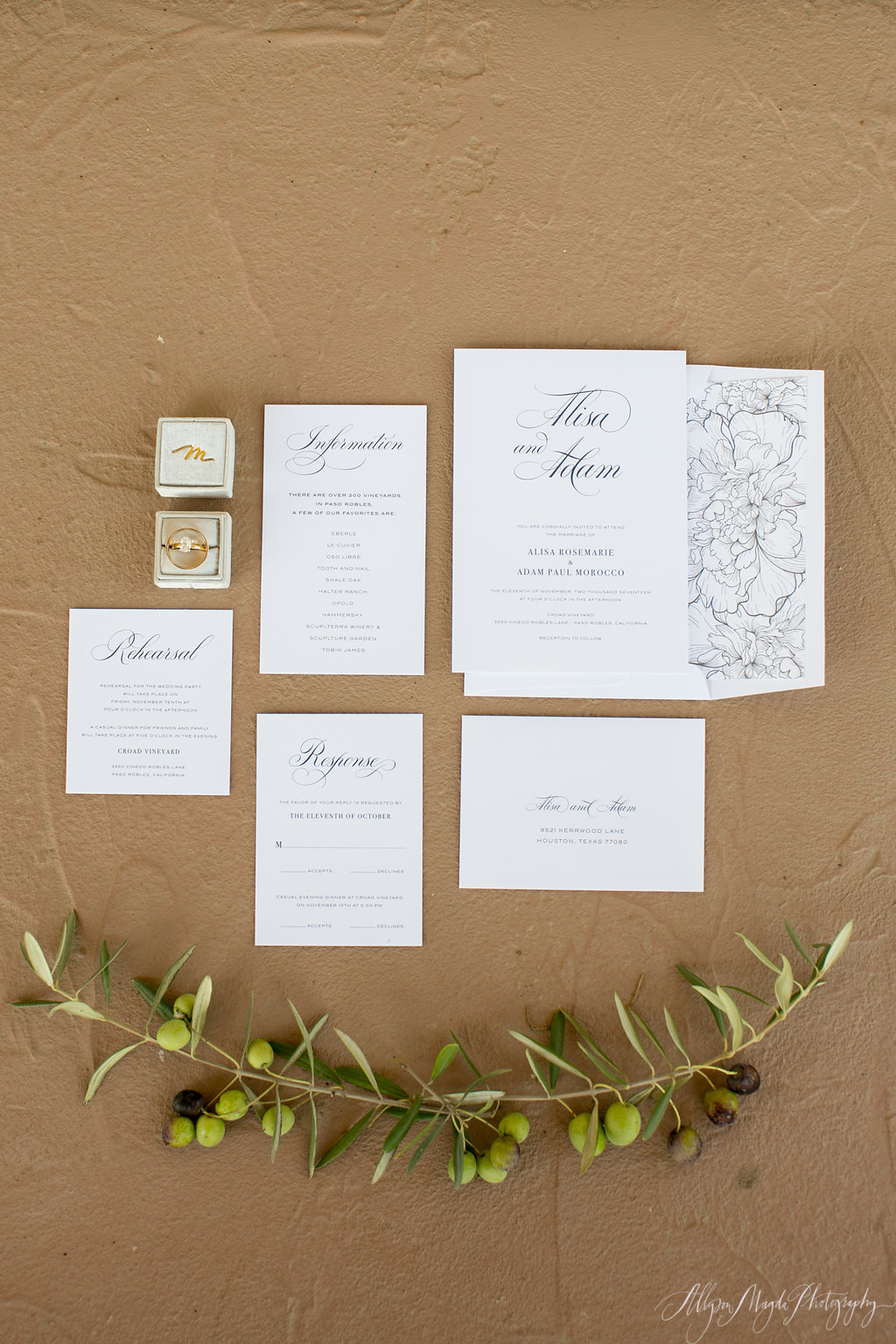 croad winery wedding invitation, paso robles