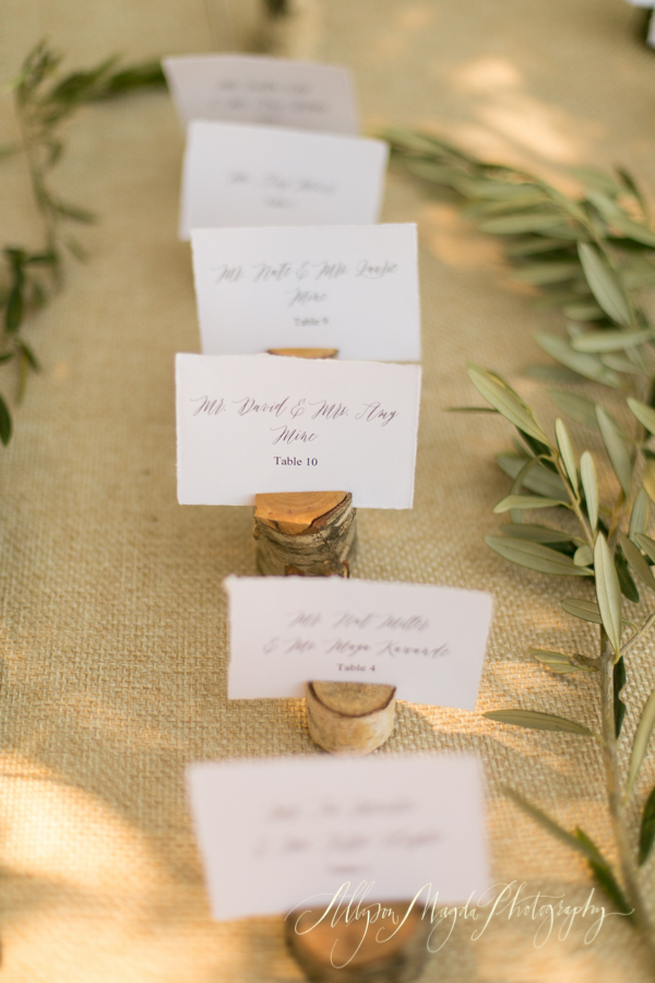 Holman Ranch Wedding reception, Carmel Valley, placecards