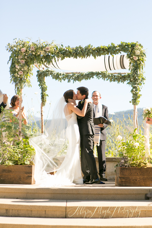Holman Ranch Wedding ceremony, Carmel Valley, first kiss