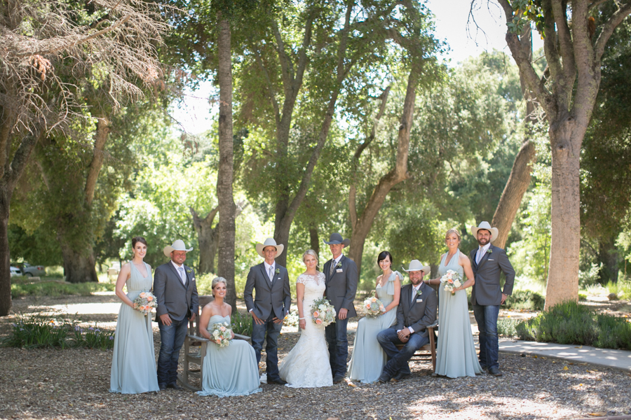 bridal party at halter ranch winery, paso robles