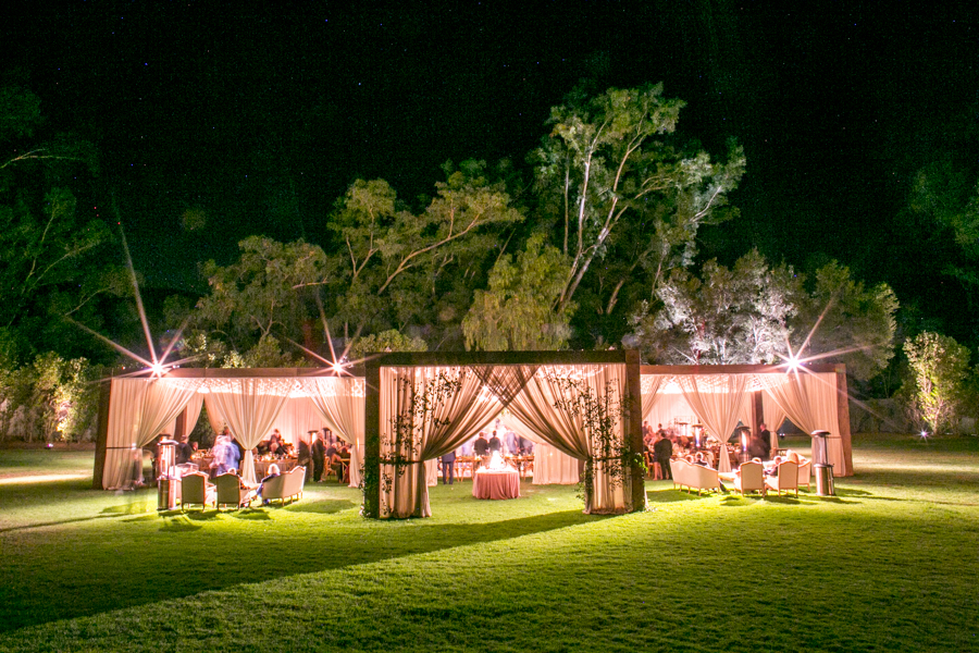 orchard lawn wedding reception at ojai valley inn, nighttime