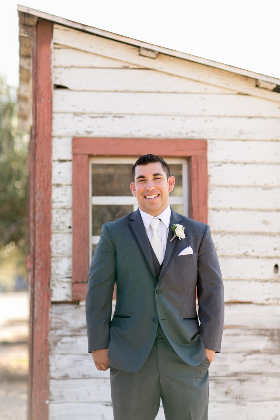 Groom at Santa Margarita Ranch wedding, weigh station