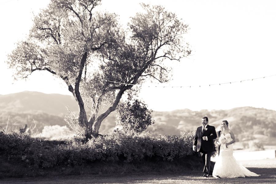 wedding processional at wedding reception at historic santa margarita ranch